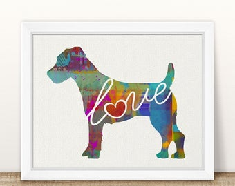Jack Russell Terrier Love - A Colorful, Bright & Whimsical Watercolor Print Home Decor Gift - Can Be Personalized with Name (+ More Breeds)