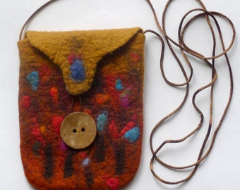 Wet felted cross body purse / bag, in warm dark yellow and brown shades