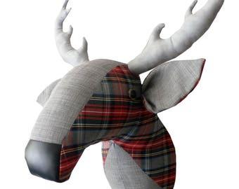 Deer head-stag head-trophy head-grey and tartan-faux taxidermy-
