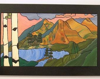 Mountains, Wood Wall Art, Wall Decor, Intarsia Wood Art