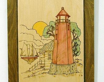 Lighthouse, Nautical, Pyrography, Wood Wall Decor