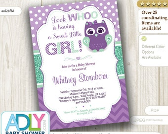 Purple Mint Owl Baby Shower Invitation. Look Whoo having baby girl, A Sweet little Girl is on her way, glitter, mint green -aa52bPM