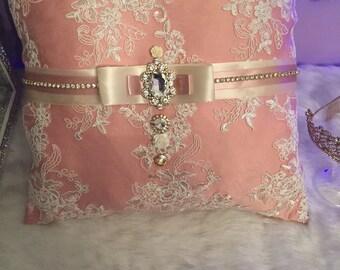 Dusty rose wedding pillow