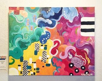 "Original abstract painting by Rita Ortloff 18""x24""x2"" - ""Smoke Screen"""