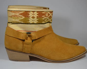 LEATHER ETHNIC BOOTS, Size 39, Camel Boots, Ethnic Boots, Spanish Boots