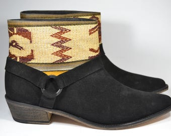 LEATHER ETHNIC BOOTS, Size 41, Black Boots, Ethnic Boots, Spanish Boots