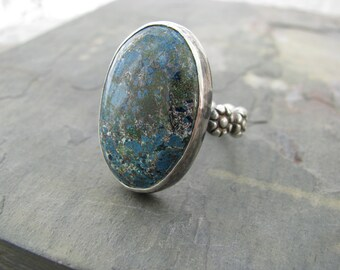 Big azurite stone ring, natural blue stone ring, statement ring, hand forged sterling jewelry, boho chic, earthy artisan jewelry,floral band