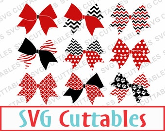 Cheer Bow Patterned Set with LOVE Design, svg, eps, and  dxf Digital Download