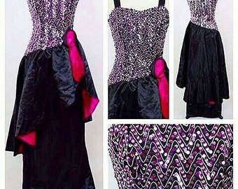 FESTIVE SALE****1940s Style Black Satin Party Dress with Sequin Bodice!