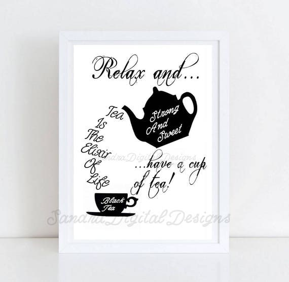 Kitchen Tea Quotes For Cards: Instant Download Teatime Quotes Kitchen Art Printable Tea