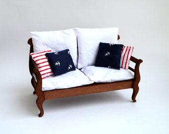 Sofa  #1 for doll size 1/6, 1/4, 1/3 (BJD, momoko, blythe, obitsu, volks, unoa, barbie, fashion doll, azone, furniture)