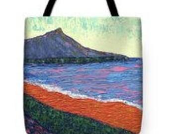 Diamond Head Tote Bag, Hawaiian Art, School Bag, Woman's Fashion, MADE TO ORDER