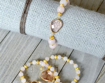 Mother-Daughter Trio -- Rose Quartz and Gold Colored Accent Bracelets