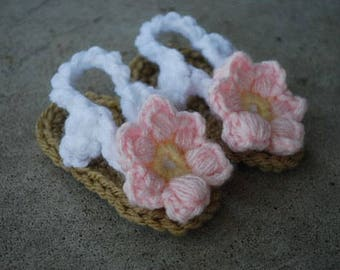 Crochet Baby Flip Flop Flower Sandals in Soft Pink and Yellow/Baby Shower Gift