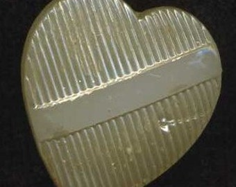 Button Vintage Heart Shape Pearlized Glass, Med.