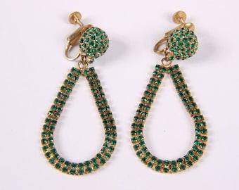 Stunning Vintage Les Bernard Green Rhinestone Dangling Clip On Earrings