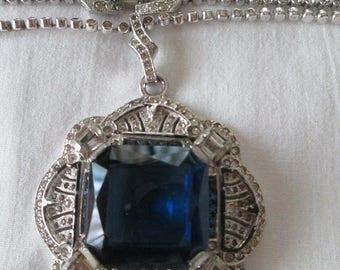 Art Deco Blue Sapphire Crystal pave rhinestone Drop Necklace