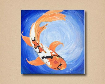 Japanese Koi Fish Art Framed Acrylic Painting