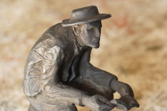 Don Saco Bronze on Marble Statue Figure of a Seated Man Reading
