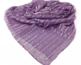 Lavender scarf, Wisteria Scarf silk, Gift idea for girlfriend, Dressy scarf, Gift for Mother in Law, Amethyst Scarf, Silver Lavender Scarves