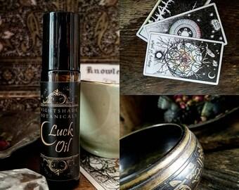 LUCK Oil 1/3 Oz ~ Abundance ~ Good Fortune ~ Lucky Oil ~ Essential oils, herbs and Aventurine Gemstone by Nightshade Botanicals