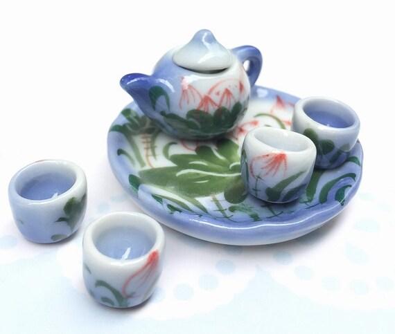 Miniature Tea Set,Miniature Chinese Tea Set,Miniature Drink,Dolls House Tea set, Miniature Tea Pot with 4 cup Set,Miniature Food,Gifts idea