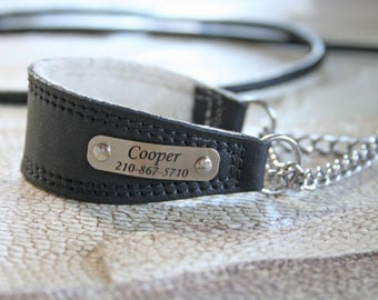 NEW! Genuine leather italian Greyhound / Iggy / Russian Toy martingale collar hand made with lamb skin lining