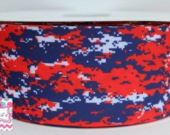 Red, and Navy digital camo 3 inch cheer grosgrain ribbon-5 yards
