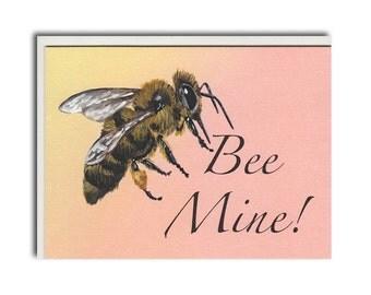 Bee Mine Notecard - Bee Cards - Bee Valentine Card