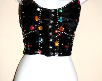 VTG Black Velvet & Beaded Halter, Nighty Top, Sz Large Top,Panty SM - XL