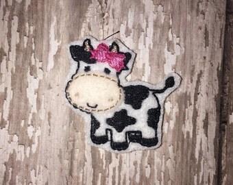 Set of 4 Cow Calf Easter Barn Farm Animal Feltie Felt Embellishment Bow! Felties Applique Birthday Party