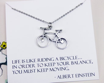 Bicycle Necklace, bicycle jewelry, jewelry with meaning, exercise necklace, antique silver, motivational, inspirational, meaningful, gift