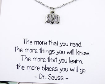 Silver Book Necklace, nerd jewelry, dr seuss jewelry, teacher jewelry, graduation, meaningful necklaces, personal gifts, inspirational, 281