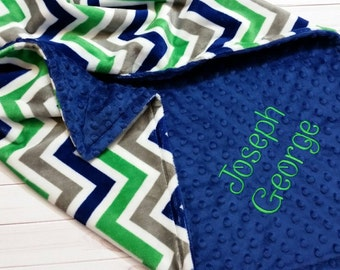 Personalized Minky Baby Blanket, Stroller Blanket, Boy Baby Blanket, Chevron Minky Blanket, Navy and Green Baby Blanket