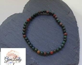 Bloodstone Heliotrope Small 4mm Round Bead Beaded Stretch Bracelet ~ Gemstone Crystal Healing ~ Handmade