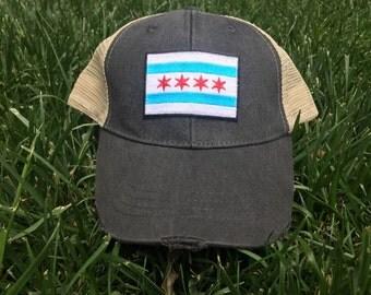 Chicago City Flag Mesh Trucker Hat