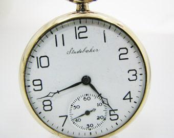 Vintage 1924 Studebaker Open Face Pocket Watch - 10k Gold Filled