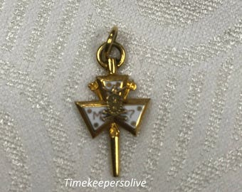 Cute Gold Filled Enamel M7 Mason Charm Necklace Pendant Perfect Collectible Gift