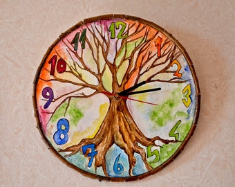 Tree of life wooden wall clock 26 cm size GRANTED