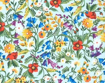 London Calling 7, Cotton Lawn Fabric by the Yard, Floral Fabric, Robert Kaufman, Apparel Fabric, Light Blue Floral Cotton Lawn, L2070008