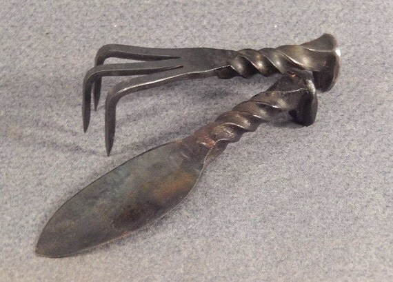 Items similar to hand forged railroad spike garden tools for Garden tool with spikes