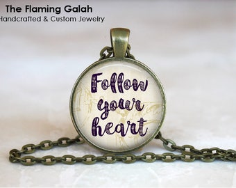 FOLLOW YOUR HEART Pendant •  Gift for a Traveler •  Travel Inspiration • Travel Word Jewelry • Gift Under 20 • Made in Australia (P1325)