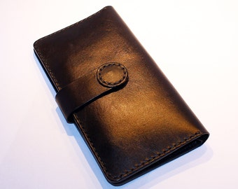 Black leather wallet. Handmade long wallet. Leather travel wallet. Black large wallet. Great gift.