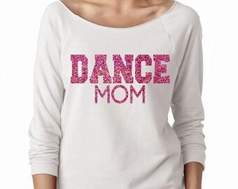Dance Mom Wideneck Fleece White