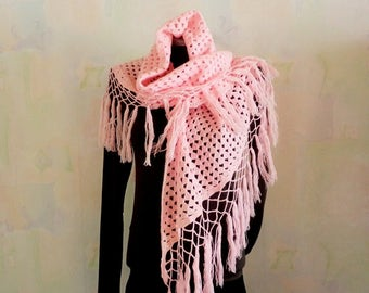 Vintage Pink Scarf, Hand knitted wool Scarf, Winter Scarf, Handmade, Pink Hand Knitted Scarf, Wool Scarf, for Her