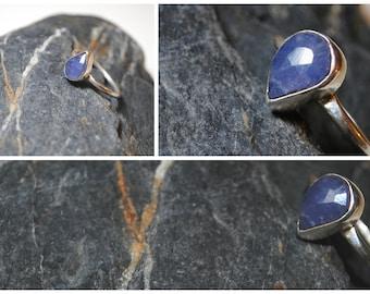 Tanzanite tear drop sterling silver ring size R