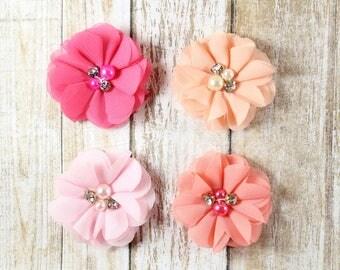Pink chiffon flowers, Peach chiffon flowers, DIY Headband, Flat back chiffon flowers, Chiffon flower for newborn headband