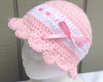 Baby pink sun hat - 3 to 9 months - Crochet baby girl beanie - Baby sun hat - Infant pink hat