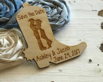 Save the DateWedding Magnets, Western Wedding Favor, Cowboy Boot, Cowboy and Cowgirl, Bride, Groom, Gift