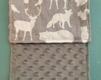 Minky Burp Rag - Grey Woodland Animals